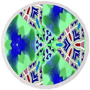 Abstract Seamless Pattern - Blue Green Turquoise Red White Round Beach Towel