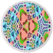 Abstract Seamless Pattern - Blue Pink Green Purple Round Beach Towel