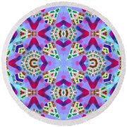 Abstract Seamless Pattern  - Blue Pink Purple Red Green Brown White Round Beach Towel