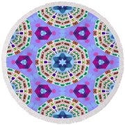 Abstract Seamless Pattern  - Blue Purple Pink Violet Lilac Orange Green Round Beach Towel