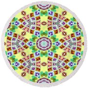 Abstract Seamless Pattern  - Yellow Brown Gray Purple Green Round Beach Towel