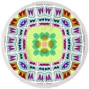 Abstract Seamless Pattern  - Yellow Green Blue Purple White Gray Round Beach Towel