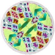 Abstract Seamless Pattern  - Yellow Green Purple Blue Gray White Round Beach Towel