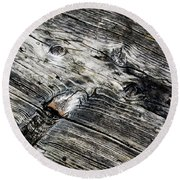 Abstract Shapes On An Old Weathered Wooden Board Round Beach Towel