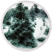 Abstract Snowy Trees Lighter Round Beach Towel