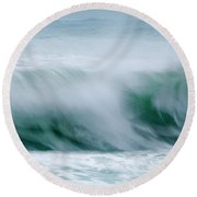 Abstract Soft Waves Round Beach Towel
