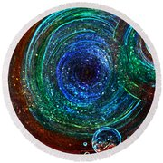 Abstract Space Art. Sparkling Antimatter Round Beach Towel
