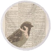 Abstract Sparrow On Dictionary Round Beach Towel