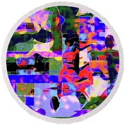 Abstract Sports Montage Round Beach Towel