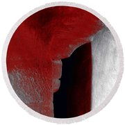 Abstract Square Red Black White Grey Textured Window Alcove 2a Round Beach Towel