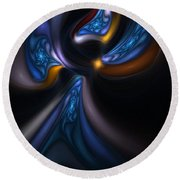 Abstract Stained Glass Angel Round Beach Towel