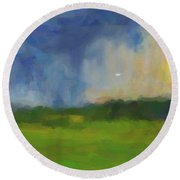 Abstract Stormy Landscape Round Beach Towel