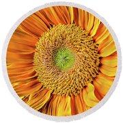 Abstract Sunflower Round Beach Towel