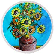 Abstract Sunflowers W/vase Round Beach Towel