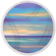 Abstract Sunset In Purple Blue And Yellow Round Beach Towel