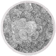 Abstract Swirl Design In Black And White #1 Round Beach Towel