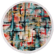 Abstract Teal Crosses Round Beach Towel