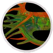 Abstract Tenticles Round Beach Towel