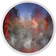 Red And Blue - Abstract Tiles No. 16.0110 Round Beach Towel