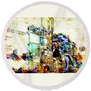 Abstract Train Round Beach Towel
