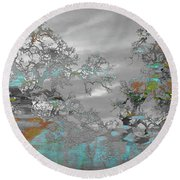 Abstract Tree Art 1 Round Beach Towel