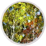 Abstract Tree Reflection Round Beach Towel