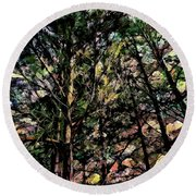 Abstract Trees 691 Round Beach Towel