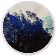Abstract Trees 8 Round Beach Towel