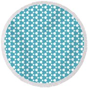 Abstract Turquoise Pattern 1 Round Beach Towel