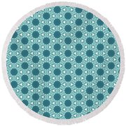 Abstract Turquoise Pattern 3 Round Beach Towel