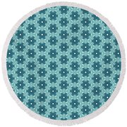 Abstract Turquoise Pattern 4 Round Beach Towel