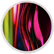 Abstract Verticle Shapes In Green And Red Round Beach Towel