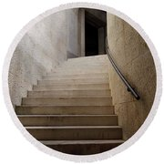 Abstract View Of Stone Curved Staircase At The World War I Monum Round Beach Towel