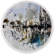 Abstract Watercolor 012130 Round Beach Towel