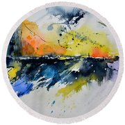Abstract Watercolor 7007555 Round Beach Towel