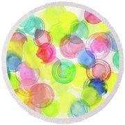 Abstract Watercolor Circles Round Beach Towel