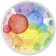Abstract Watercolor Rainbow Circles Round Beach Towel