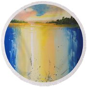 Abstract Waterfall At Sunset Round Beach Towel