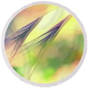 Abstract Weeds Yellow Round Beach Towel