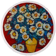 Abstract Wild White Roses Original Oil Painting Round Beach Towel