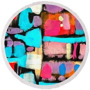 Abstract Wine Bottles Blue Red Round Beach Towel