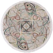 Abstract With Hearts Round Beach Towel