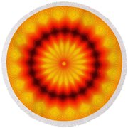 Abstract Xanthous And Black.  Round Beach Towel