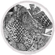 Abstract Zentangle Inspired Design In Black And White Round Beach Towel