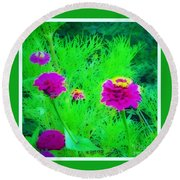 Abstract Zinnias In Green And Pink Round Beach Towel
