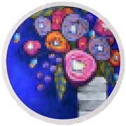 Abstracted Flowers - 2 Round Beach Towel