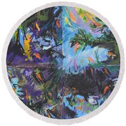 Abstracted Koi Pond Round Beach Towel