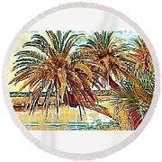 Abstracted Loop Palms Round Beach Towel