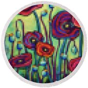 Abstracted Poppies Round Beach Towel