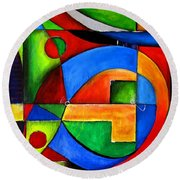 Abstraction 1723 Round Beach Towel
